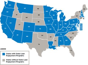State Loan Repayment map